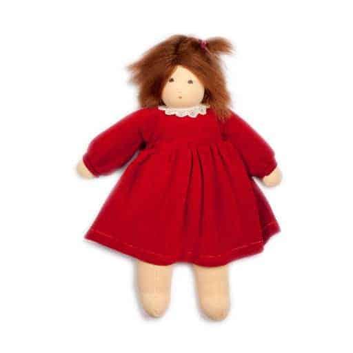 stor dukke med rød kjole