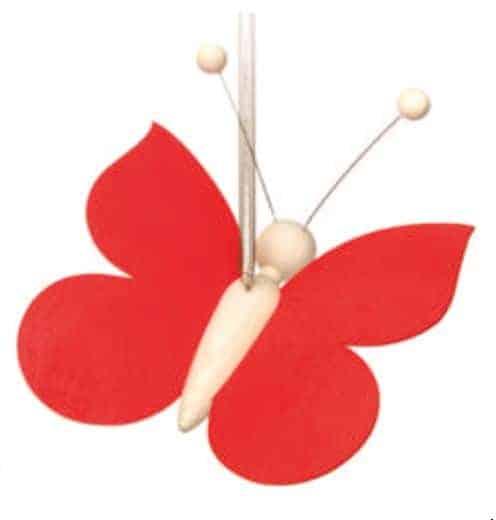 Sommerfugl på fjeder - Rød
