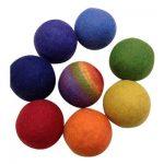 regnbue bolde filt uld