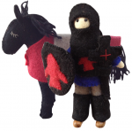 Filtridder med hest – Blå/rød